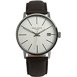 SIMON CARTER MENS WATCH WT1905W AND BRAIDED LEATHER BRACELET GIFT SET