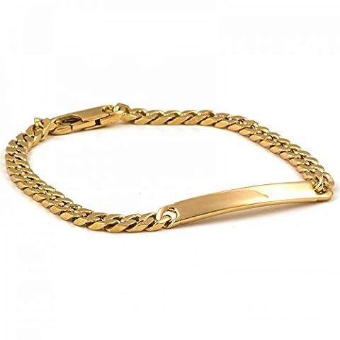 ISADY - Méry Gold 4 - Bracelet - Plaqué Or 750/000 (18 carats) - Gourmette à graver - Gravure Offerte - Maille Figaro - Longueur 18 cm - Largeur 4 mm