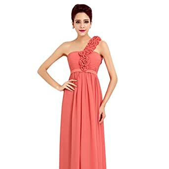 MissFox Damen Abendkleid mit floraler Embellished Einfarbig 5XL Wassermelone Rot