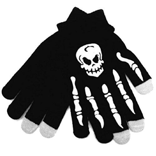Amosfun Schädel Winter Warme Handschuhe Touchscreen Handschuhe Winddicht Sport Handschuhe Halloween Kostüme für Reiten Radfahren Bergsteigen Skifahren (Schwarz + Weiß Schädel)