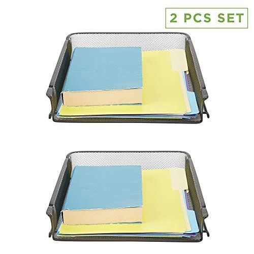 Mind Reader BSTACK2-BLK 2 Piece, Front Load, Stackable Letter Legal, Tray Mesh Desk, Document Holder, Magazine Storage, Desktop File Organizer, Black (Letter Tray Legal)