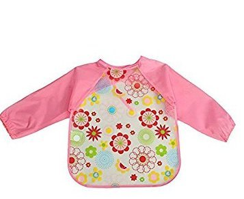 AK.SSI Kinder gedruckt wasserdicht Anti-Dressing Cartoon Kittel Baby Einweg Langarm Lätzchen 1pcs (Style C) - Einweg Kind-kittel