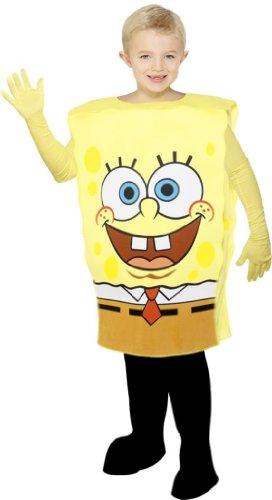Spongebob Schwammkopf Kostüm für Kinder Kinderkostüm Gr. 128-134 (M), 140-158 (L), (Kostüme Schwammkopf Spongebob)