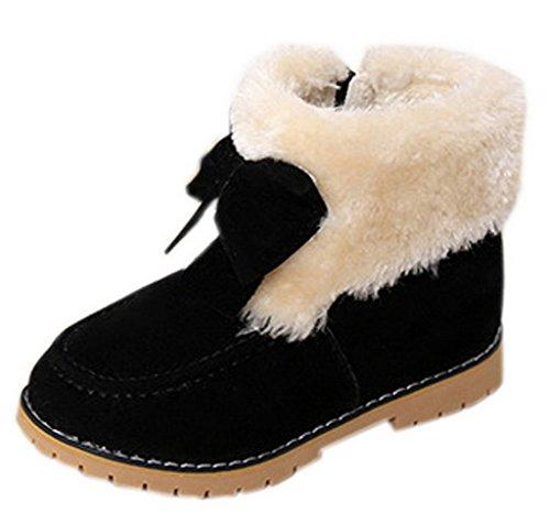 Y-BOA Hiver Chausson Boots Ski Enfant Fille Déguisement Noël Nœud Princesse Velours Doublure Noir