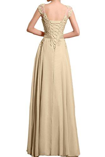 TOSKANA BRAUT Romantisch Champagner Damen Rund Chiffon Spitze Band Abendkleider Lang Partykleider Promkleider Wassermelone