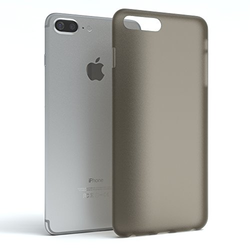 "iPhone 8+ Hülle / iPhone 7+ Hülle - EAZY CASE Premium ""CLEAR"" Slimcover Handyhülle für Apple iPhone 7 Plus & iPhone 8 Plus - Transparente Schutzhülle als Smartphone Cover in Transparent Matt Schwarz / Anthrazit"