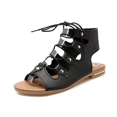 Women's Sandals Gladiator Nouveauté Confort matériaux sur mesure robe en simili cuir Talon plat décontracté à lacets Rivet Noir Beige rouge Black