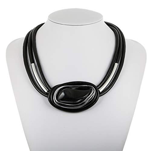 Outsta 2019 Damen Halskette aus Kunstharz und Lederband, geometrischer Stil, Modeschmuck as shown schwarz