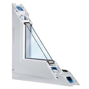Fenster weiss 2-fach verglast 70x75 (BxH) kipp- und drehbar (DK-Rechts) als Maßanfertigung