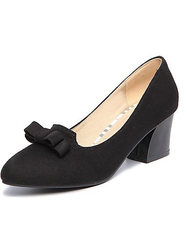 WSS 2016 Chaussures Femme-Bureau & Travail / Décontracté-Noir / Vert / Gris-Gros Talon-Talons / Confort / Bout Pointu-Talons-Laine synthétique black-us10.5 / eu42 / uk8.5 / cn43