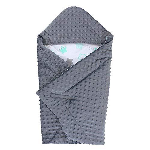 TupTam Baby Sommer Einschlagdecke für Babyschale, Farbe: Graphit/Sterne Mint Grau/Weiß, Größe: ca. 75 x 75 cm
