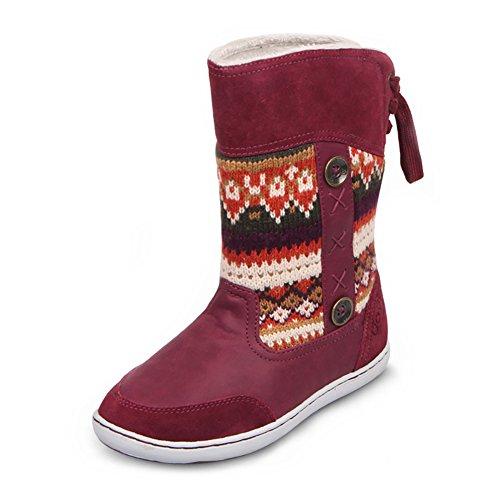UOVO Winter Snow Boot Renna Indietro Lace-Up Scarpe per i Bambini Ragazze dei Ragazzi (EU 29/UK Size 11/US Size 12, Chiaretto)