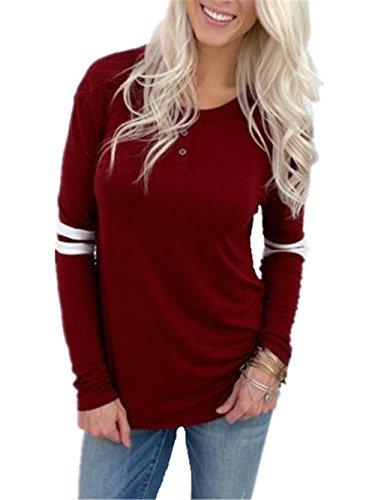 BESTHOO Haut à Manches Longues Femme Col Rond T-shirt Léger Basique à Manches Longues RayÉ Blouse Patchwork Top Haut Décontractée red
