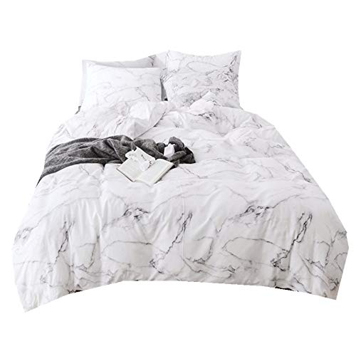 Sticker superb Baumwolle Warm Atmungsaktiv Weiß Schwarz Bettbezug Set mit Kissenbezug, Zuhause Dekor Marmor Stein 3D Bewirken Bettwäsche Set mit Reißverschluss (Stil 2, 200x200cm) -