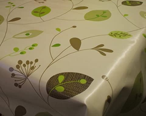 Leaves and Stems on Natural PVC Vinyl Oilcloth Tablecloth by Karina Home 100 x 137cm