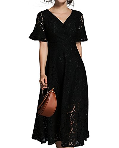 Formale Damen Kleider Für (Aox Frauen Elegant Kurzarm V-Ausschnitt Kontrast Crochet Floral Lace Empire-Taille Formal Cocktail Party Swing Dress (52, Schwarz))