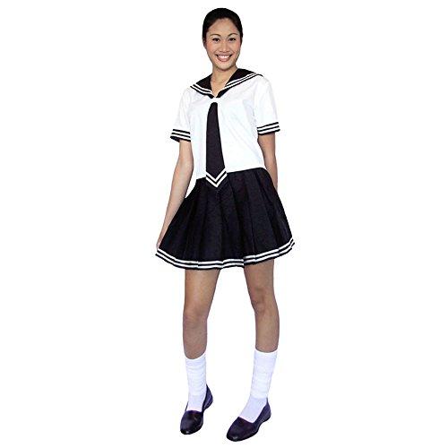 Japanisches Cosplay Schulmädchen Kostüm Schuluniform Baumwolle Schwarz & Weiß (Damen Outfits Sailor Für)