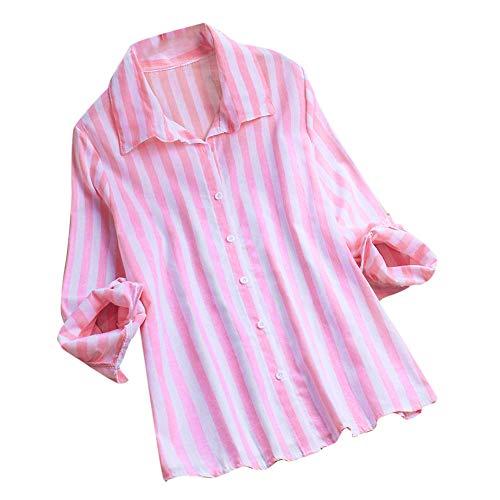 VEMOW Damen Herbst Frühling Sommer Elegante damen Stehkragen Langarm Casual Täglichen Party Strand Urlaub Lose Tunika Tops T-Shirt Bluse(X4-Rosa, EU-40/CN-M) -