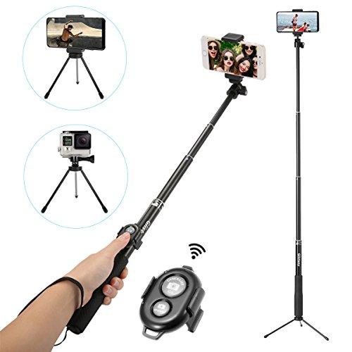 Bluetooth  Selfie Stick , GLISTENY Wireless Selfie Stick mit Highly-extendable Stativ Einbeinstativ und Bluetooth Fernauslöser für Smartphone, GoPro, Kompaktkameras (Schwarz) (Selfie Stick Lebenslange Garantie)