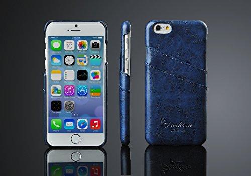 Etui für Apple iPhone 7 Plus 5.5 Zoll Hülle mit 2 Kartenfächern Hardcase in Leder-Optik Soft Touch Handy Schutzcover Phone Case Blau