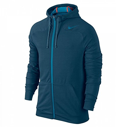 NIKE Herren Jacke Dri-Fit Touch Fleece Full Zip Hoodie, Blue Force/Light Blue Lacquer, XL, 644293 (Nike Dri-fit-light)