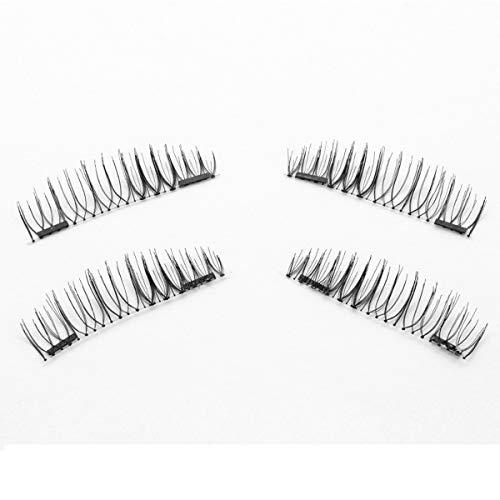 TOOGOO 1 paire/4pcs Faux cils magnetiques a double aimant 3D longs naturels Extension de cils doux de maquillage de yeux Outils de maquillage CT01-S