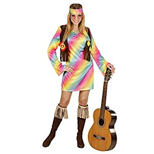 WIDMANN 73353?Adultos Disfraz Hippie Mujer, Vestido, angenähte Chaleco Y Cinta, Arco Iris, tamaño L