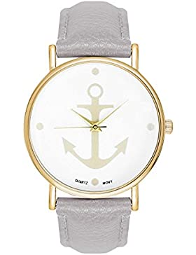 Damenuhr Armbanduhr Edelstahl Uhr Uhren Günstig Farbe: Grau Gold Style: Anker Matrosen Sailor Matrosenstreifen...