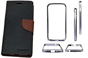 Generic Mercury Diary Flip Cover For Samsung Galaxy Note 3 Neo 7505Brown With Backless Matellic Bumper Silver