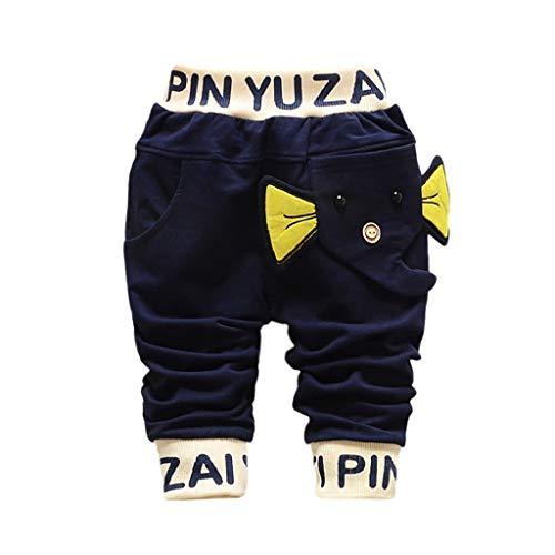 FBGood - Pantalones de algodón elásticos, diseño de Elefante para bebé, Bleu Foncé, 100/XL