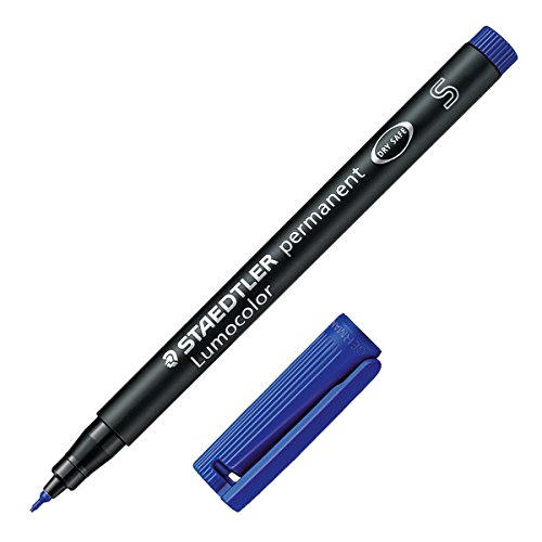 Staedtler 313-3 Lumocolor permanent Folienstift (wasserfest, 10 Stück in Kartonschachtel, S-Spitze Linienbreite ca. 0.4 mm, hohe Qualität Made in Germany, wischfest, sekundenschnell trocken) blau