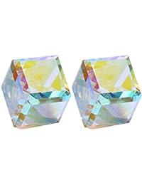 CHANGEABLE Cubo de Agua Cristal Pendientes de mujer de plata de ley