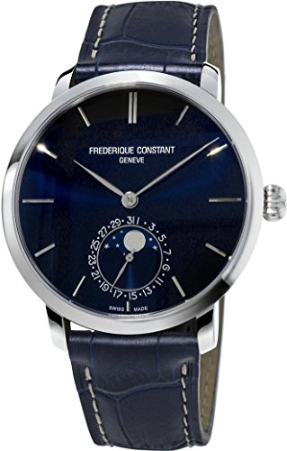 Frederique Constant Men's Slim Line Moonphase 42mm Blue Alligator Leather Band Automatic Watch FC-705N4S6