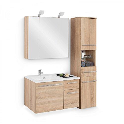 Badmöbel-Set mit Waschbecken Unterschrank Hochschrank Spiegelschrank Beleuchtung Waschtisch 80 cm Badezimmer Komplettbad Eiche Sägerau