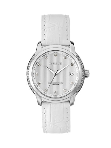 Gant Lynbrooke Women's Quartz Watch with White Dial Analogue Display and White Leather Strap W10714