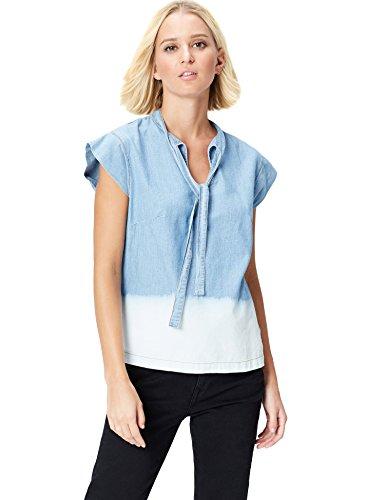 FIND Damen Denim-Top mit Schleife Dip Dye, Blau (Blue), 44 (Herstellergröße: XX-Large) (Baumwolle Kurzarm-jeanshemd)