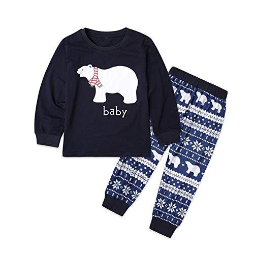 Bornbayb Papa Mama Baby Weihnachten Pyjama Set Bär gedruckt Familie passende Nachtwäsche Homewear, blau -