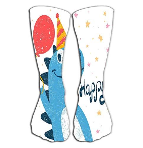 ts Men Women High Socks Stocking cute dino dinosaur print hand drawn style happy birthday cute dino dinosaur print Tile length 19.7