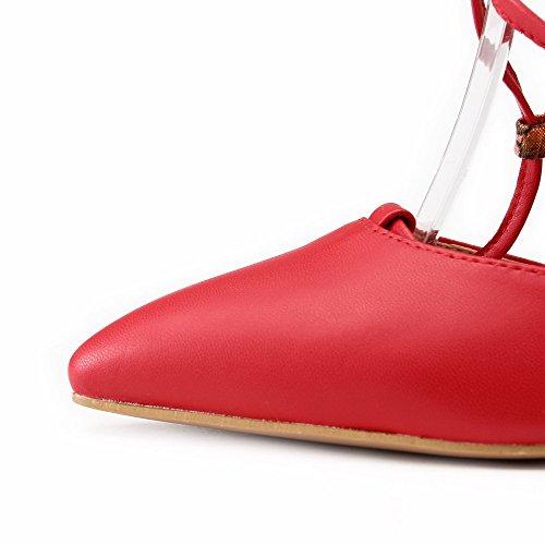VogueZone009 Femme Pu Cuir à Talon Haut Pointu Couleurs Mélangées Boucle Chaussures Légeres Rouge