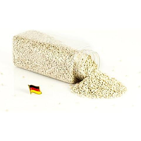 Granulado decorativo / Piedras decorativas ASLAN, color crema brillante, 3 - 8 mm, 605 ml bote, Producido en Alemania - Piedrecitas de colores - monsterkatz