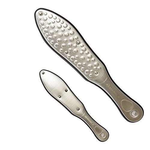 Laser-Hornhautraspel | komplett Edelstahl (rostfrei) | Hornhautentferner mit gelaserter Oberfläche | grobe/feine Seite | gummierter Griff für sicheren Halt | Profi Fußraspel/-feile für tägliche Pflege