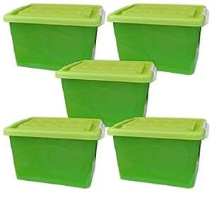 coffre 5 pi ces caisse de rangement plastique avec couvercle et roulettes 60 l vert 5x22255. Black Bedroom Furniture Sets. Home Design Ideas