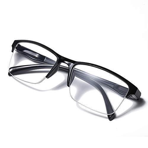 YUANJJ Schwarze Halbrahmen-Lesebrille, Federscharniere, Stilvolle Und Komfortable Anti-Fatigue-Brille (0.50~3.00)
