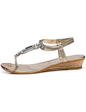 sandalias de tiras suela de goma de verano diamante flip sandalias planas estudiante , gold , US6 / EU36 / UK4...