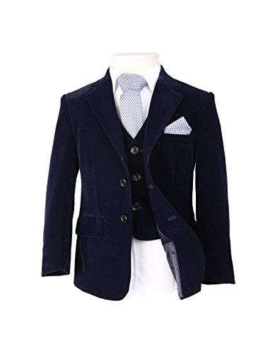 Winter Kinderanzug aus Samt Blau mit Krawatte und Tuch gut geeignet für Feier 6 Teilig, 3 jahre (3-teiliges Samt-anzug)