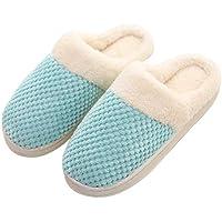 FENICAL Zapatillas de Estar por Casa de Algodón Antideslizante para Adultos Tamaño 40-41 (Azul Cielo)
