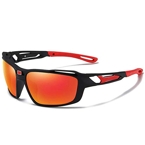 Pkfinrd Polarisierte Sport-Sonnenbrille Herren- und Damenfahrräder Laufen Angeln Golf TR90 Aluminium Magnesium Metallrahmen M294 unzerbrechlich@Orange rote Tabletten des schwarzen roten Kastens