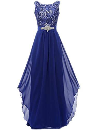 Azbro Women's Floral Lace Paneled Asymmetric Prom Dress Peacock Blue