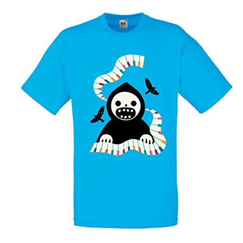 Männer T-Shirt Halloween Horror Nights - The Death is Playing on Piano - cool Scarry Design (Large Blau Mehrfarben)