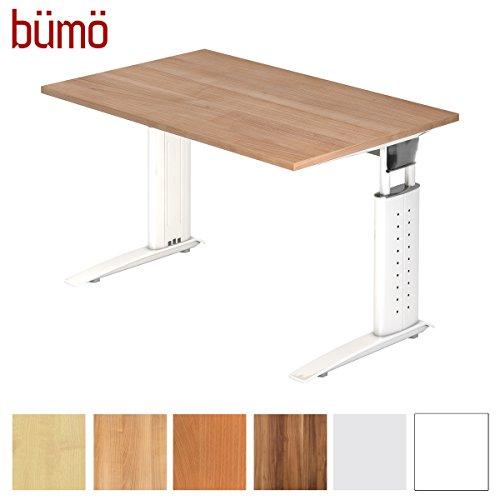 Bümö® Schreibtisch höhenverstellbar 68-86 cm | Bürotisch mit Gestell in weiß | höhenverstellbarer Büroschreibtisch | Tisch für's Büro & PC in Top Qualität - Büromöbel (Rechteck: 120 x 80 cm, Nussbaum) -